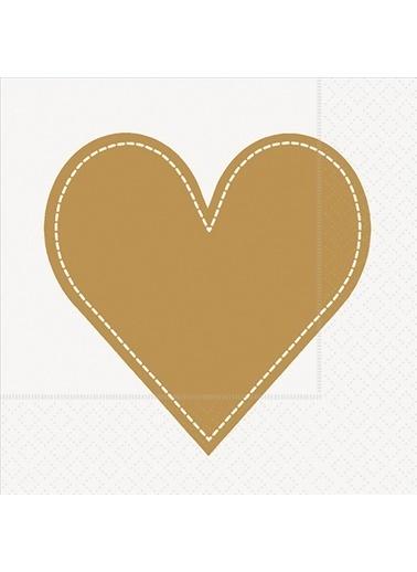 Dünya Style Heart Gold Peçete Renkli